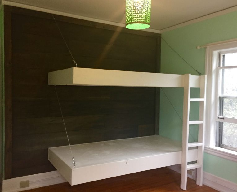 Boom Diy Planked Walls And Floating Furniture Bunk Beds With Stairs Bunk Beds Diy Plank Wall