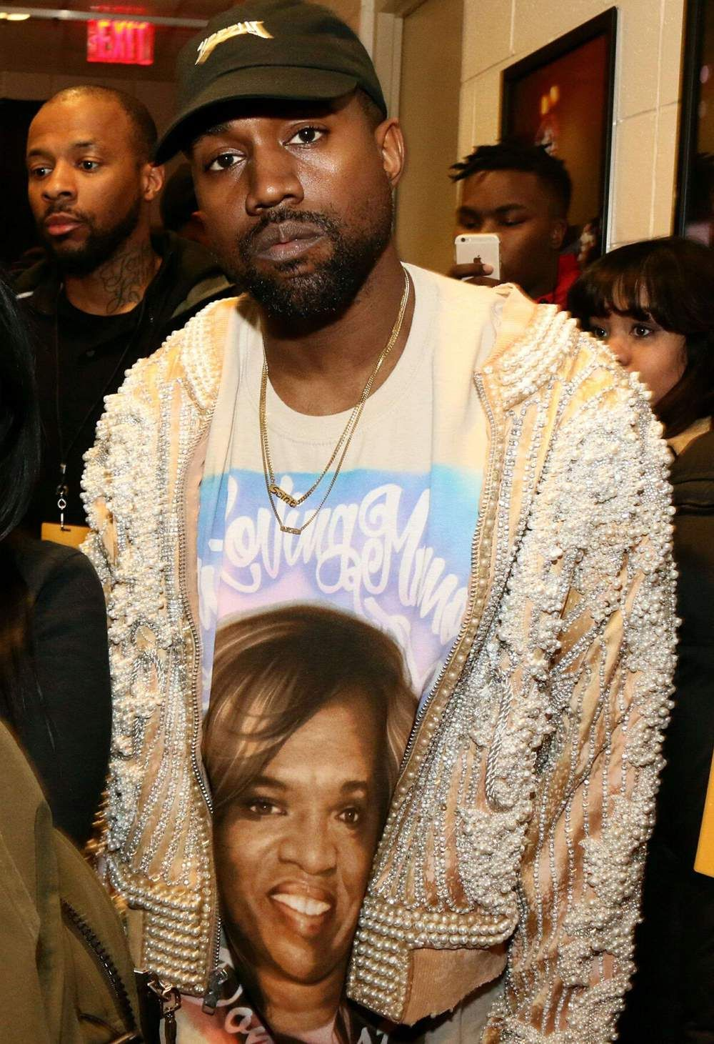 fee3538f3 Kanye West in custom BALMAIN embellished jacket