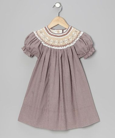 Take a look at this Brown & Cream English Bishop Dress - Infant, Toddler & Girls by Rosalina on #zulily today!