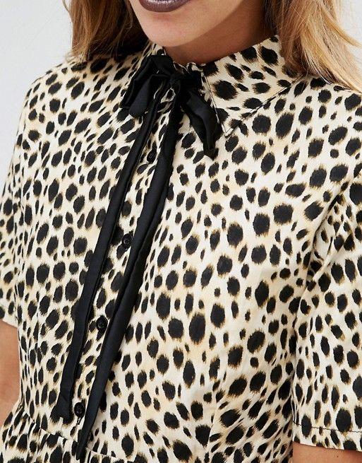 ccd49de2cc35 Motel | Motel Halloween Metis Tie Neck Shirt Dress In Leopard Print  Textured woven fabric Point