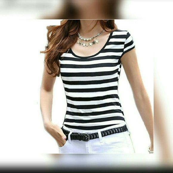 Black and white striped shirt. Super cute soft black and white shirt.  This has a silver stripe with the black so you have the glint of metallic silver. Arizona Jean Company Tops Tees - Short Sleeve