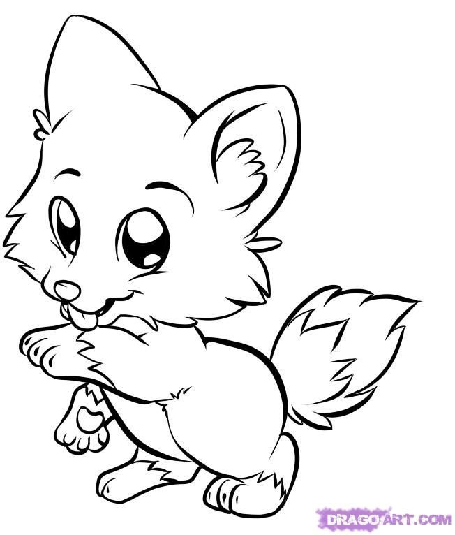 Wolf Coloring Pages For Kids Draw Baby Wolf Cute Animals Puppy Coloring Pages Cartoon Coloring Pages Fox Coloring Page