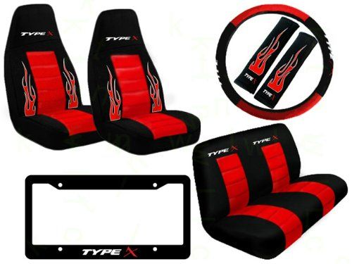 Amazon Com 8 Piece Type X Auto Interior Racing Set Universal Fit High Back Bucket Seat Covers And Re Bucket Seat Covers Seat Belt Cover Steering Wheel Cover