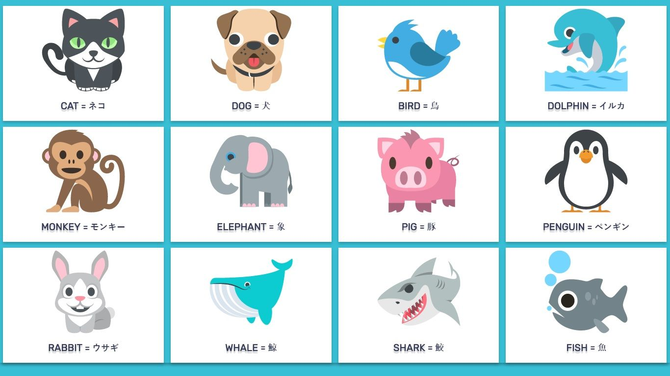 Animals In English And Japanese With Examples Basic