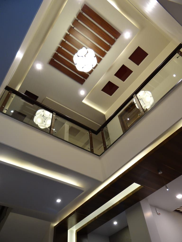Double Height Lobby Ceiling Modern Corridor Hallway Stairs By   False Ceiling Designs For Staircase   Simple   Interesting   Square   Entrance Lobby   Decor