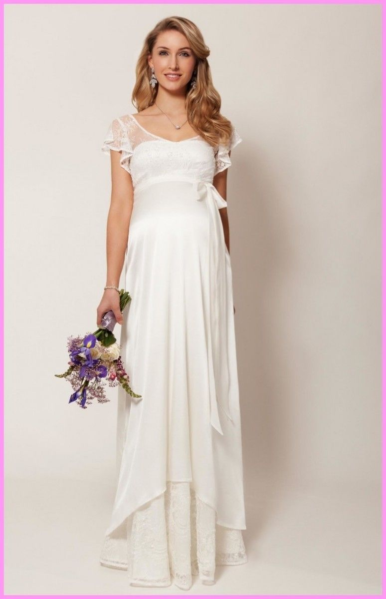 White maternity wedding dress  Maternity Bridal Gowns Guide For The Pregnant Bride  maternity