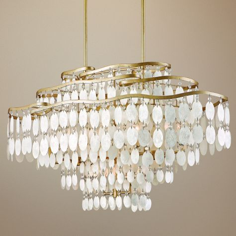 Gorgeous Lighting Can Make Or Break The Room This Will Make The Room Dolce Capiz Shell 42 Wide Capiz Shell Chandelier Island Lighting Chandelier Over Island