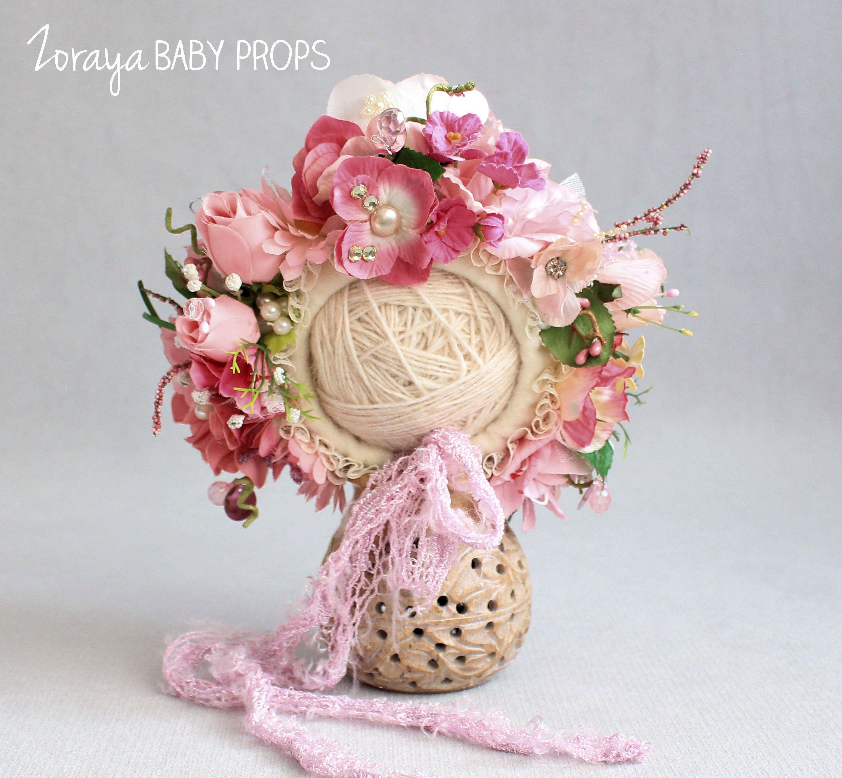 Newborn bonnet pink flower bonnet baby photography prop