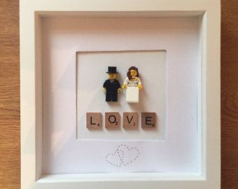 wedding gift lego bride and groom picture frame by lumagifts - Wedding Picture Frames
