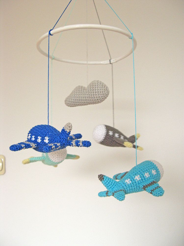 Airplane Baby Mobile Crochet Airplane Aviation Baby by cherrytime