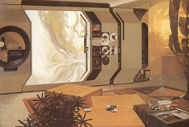 """Design and illustration by Syd Mead from the book """"Senteniel"""" (1971). """"WonderWall"""" concept painting for Playboy, 1971. """"The TV screen in this illustration is shown in its alternative mode - that of a liquid-crustal light show."""""""