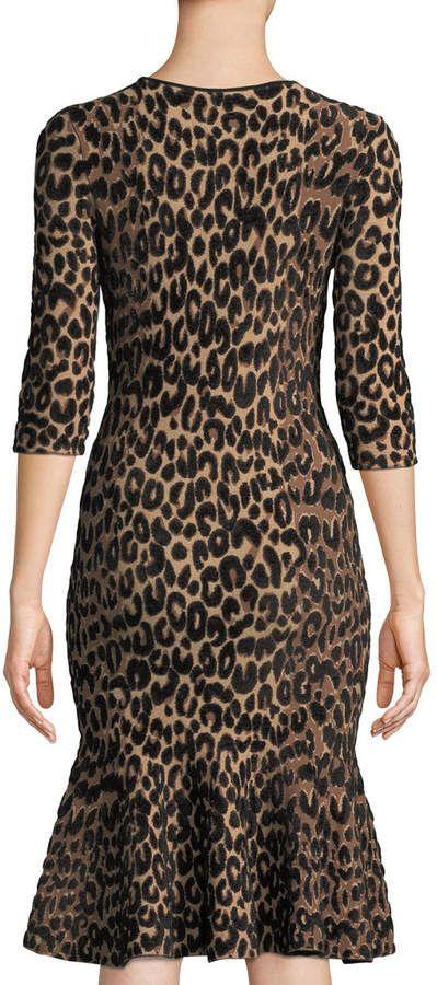 346c1c790f Milly Textured Leopard Animal-Print Mermaid Midi Dress Mermaid Midi Dress