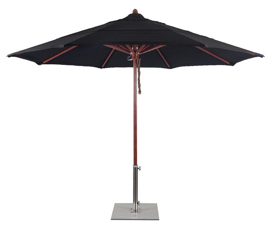 Flex118 11 Wood Simulated Fibergl Patio Umbrella Sunbrella Fabric Commercial Grade