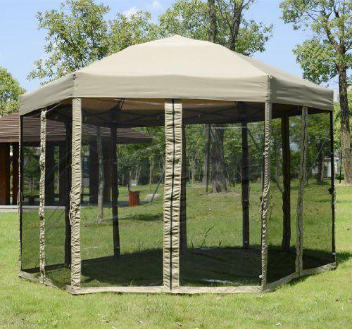 Portable Hexagonal Garden Canopy w/ Mesh Netting Outdoor Patio Gazebo | Cheap Gazebo & Portable Hexagonal Garden Canopy w/ Mesh Netting Outdoor Patio ...