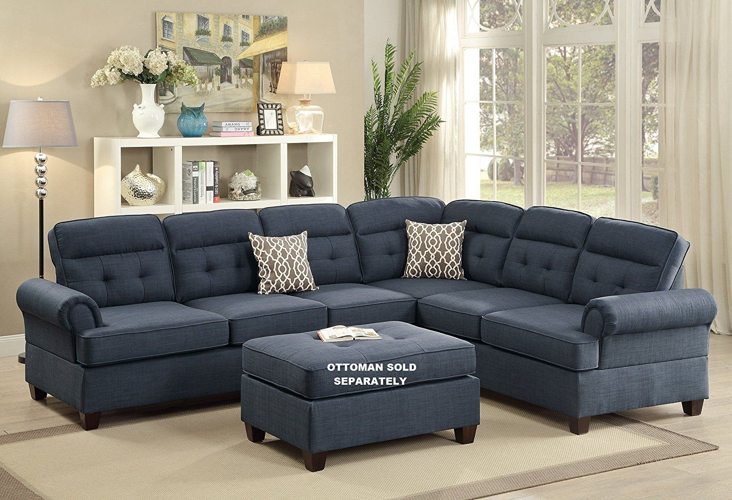 amazon sofa set twin bed mattress topper 996 com tynan 2 pieces sectional upholstered in dark blue dorris fabric kitchen dining