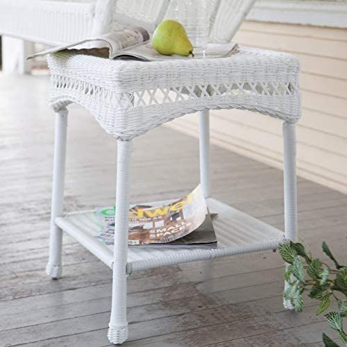 Enjoy exclusive for Classic White Resin Wicker Patio Side Table Lower Shelf Outdoor Accent End Table Patio Furniture online - Nicetopnice