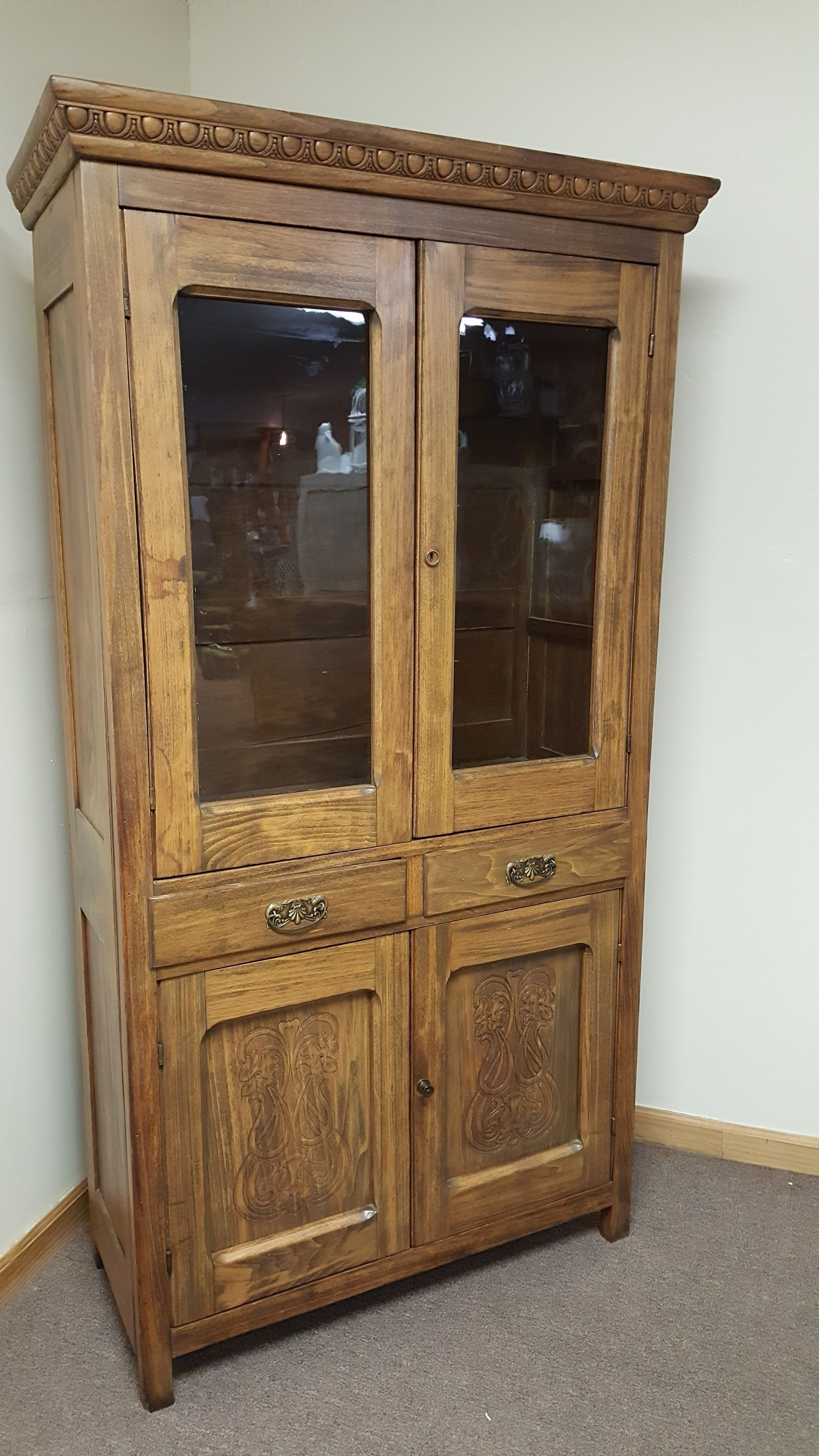 Gorgeous large cabinet with glass doors. #furniture #antiquefurniture # cabinets - Gorgeous Large Cabinet With Glass Doors. #furniture