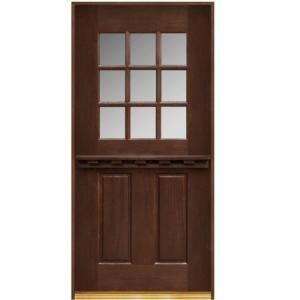 Main Door, Dutch Door Collection 9 Lite Prefinished Antique Mahogany Prehung  Front Door, SH