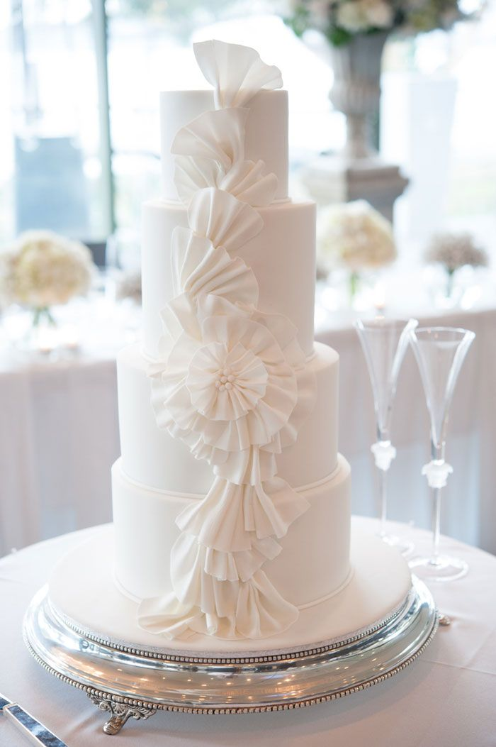 Simple White 4 Tiered Wedding Cake With Delicate Detail As Featured On