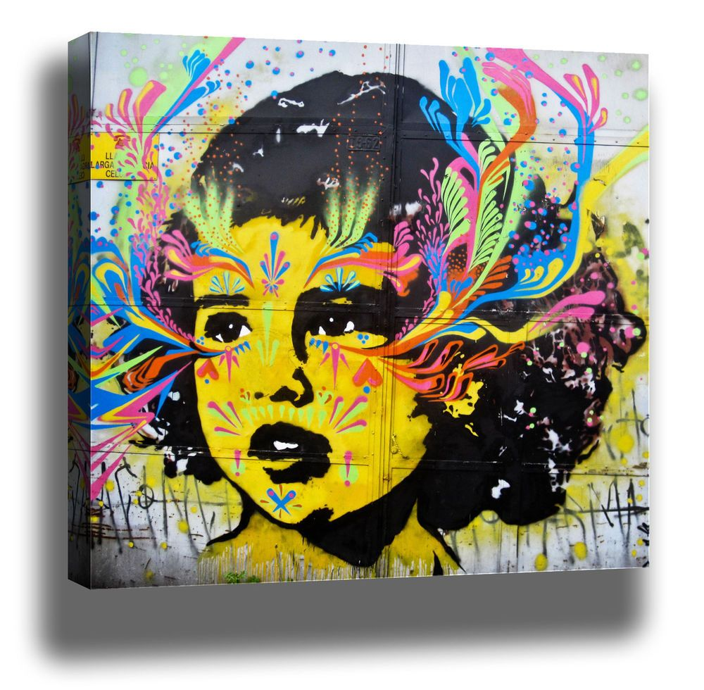 Bogota girl face graffiti street art high quality modern canvas ...