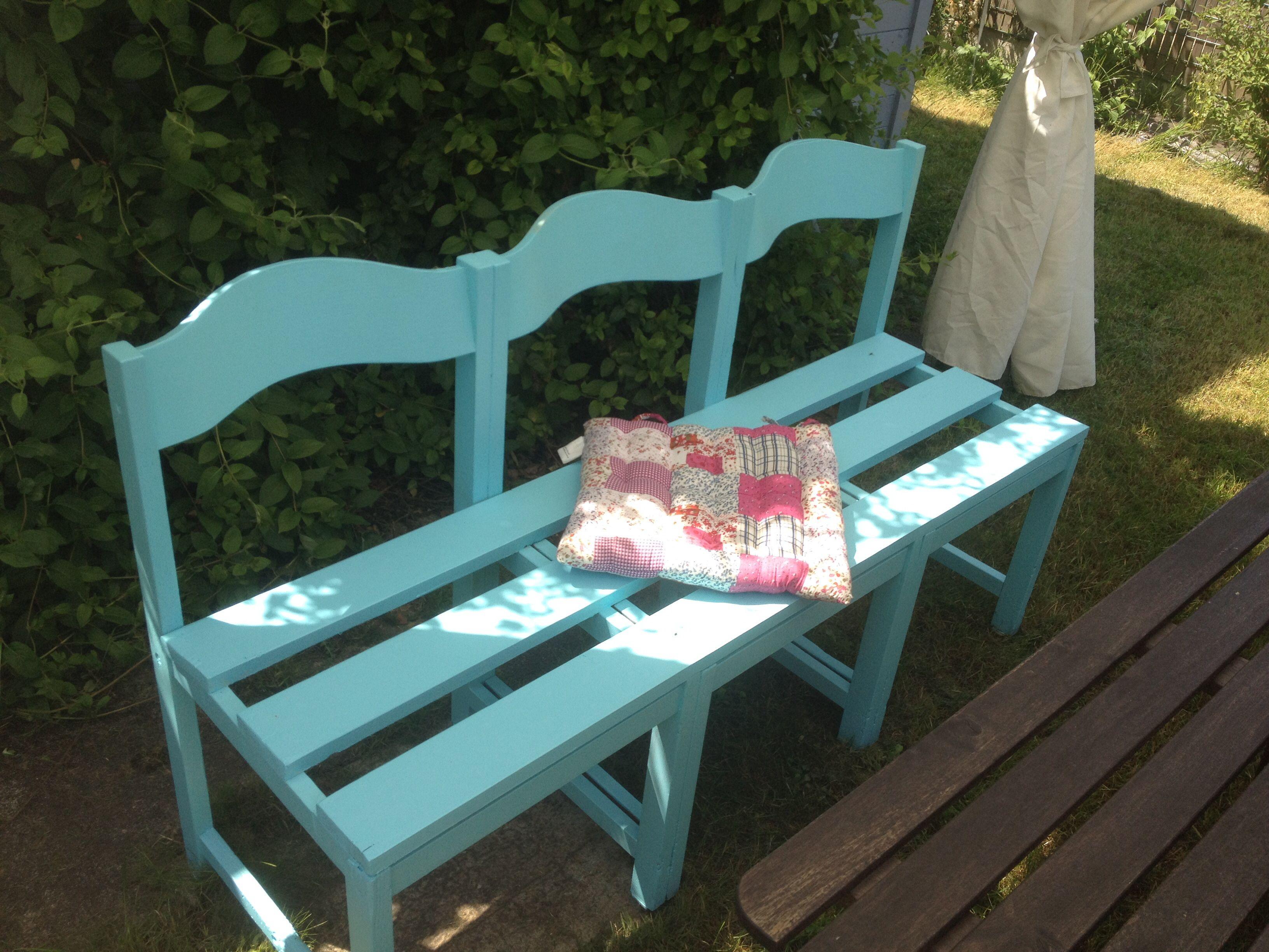 fabriquer un banc avec 3 vieilles chaises | bois recup | pinterest