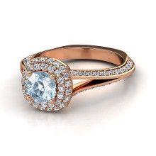 Cushion Aquamarine 14K Rose Gold Ring with Diamond