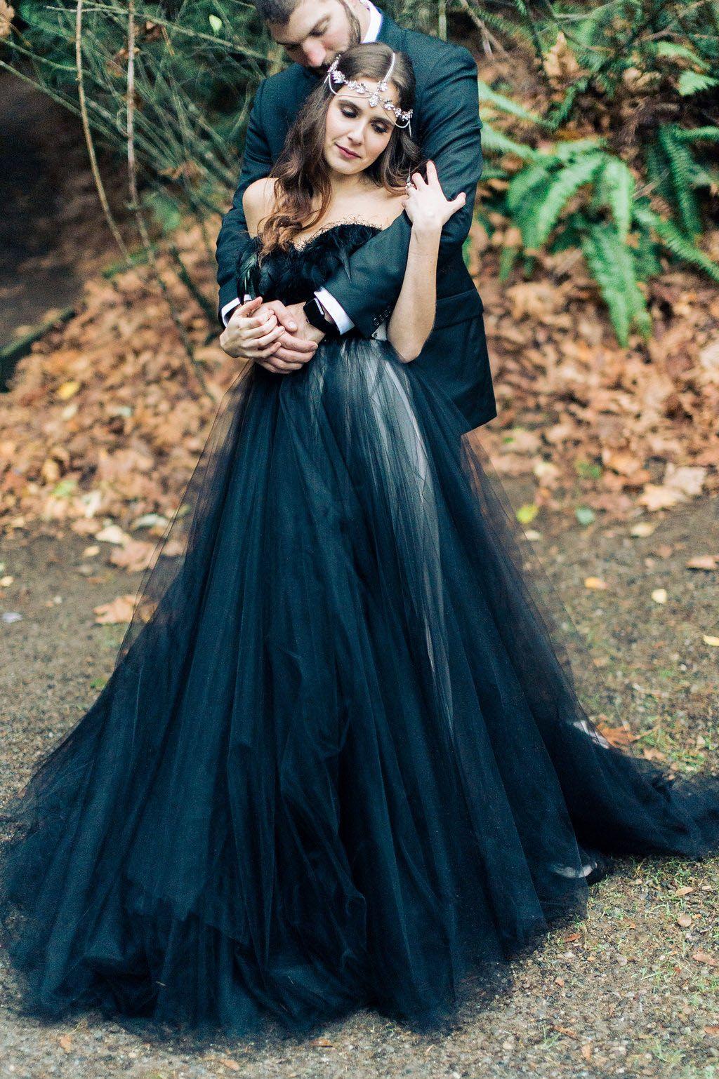 Woodland Nymph In A Black Wedding Dress Black Wedding Dresses Black Wedding Gowns Black Wedding [ 1538 x 1024 Pixel ]