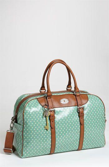 80d69ff6f39b Fossil  Vintage Key-Per  Coated Canvas Duffel Bag