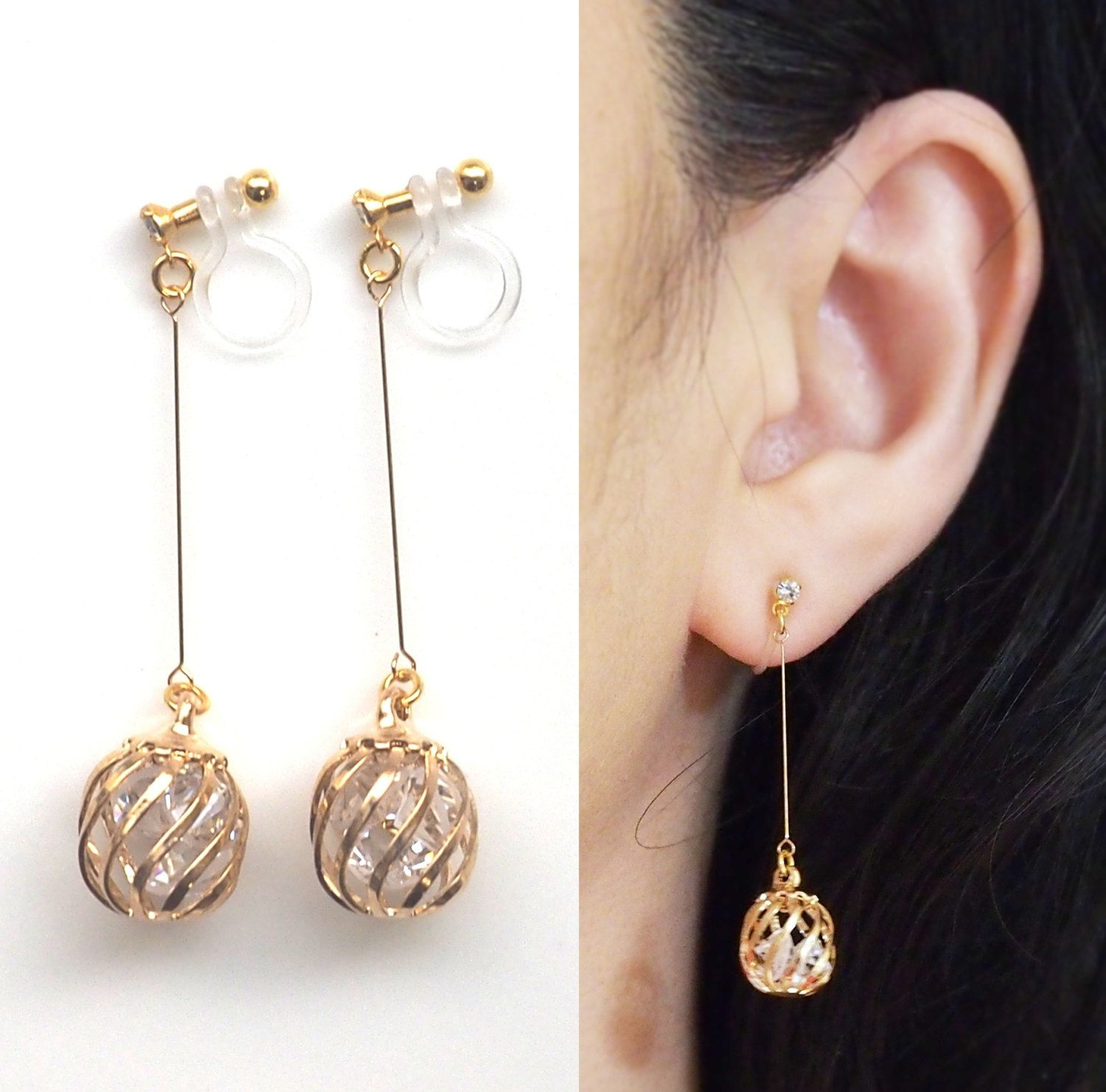 Crystal In Gold Cage Invisible Clip On Earrings Dangle Comfortable Non Pierced By Miyarace Etsy