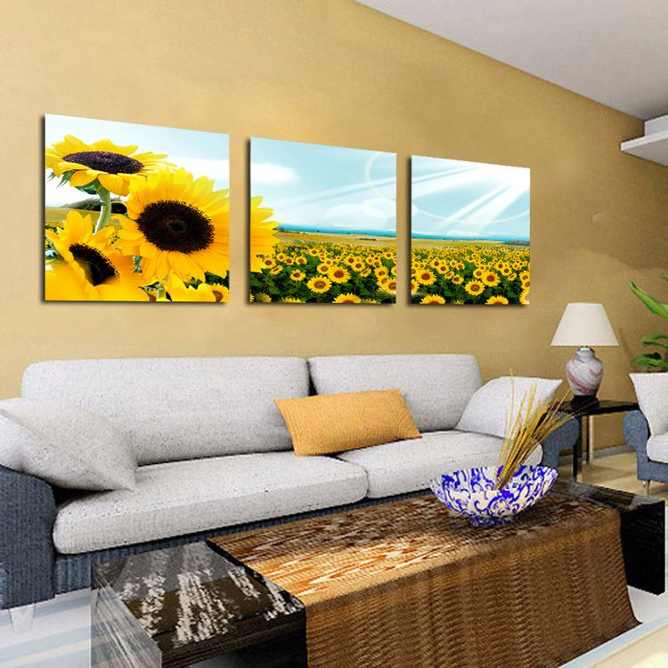 3 Panels Landscape Canvas Sunflower Painting Decorative Wall Hanging ...