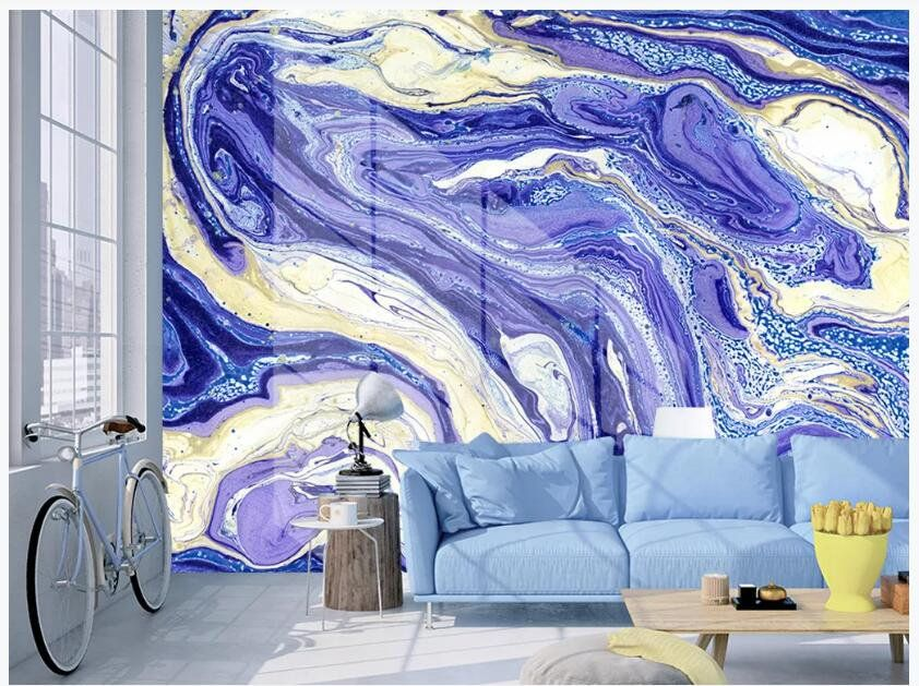 Abstract Marble Wallpaper Hand Painted Blue Marble Wall Murals Wall Decor For Living Or Dinning Room Marble Wall Mural Marble Wallpaper Marble Wall