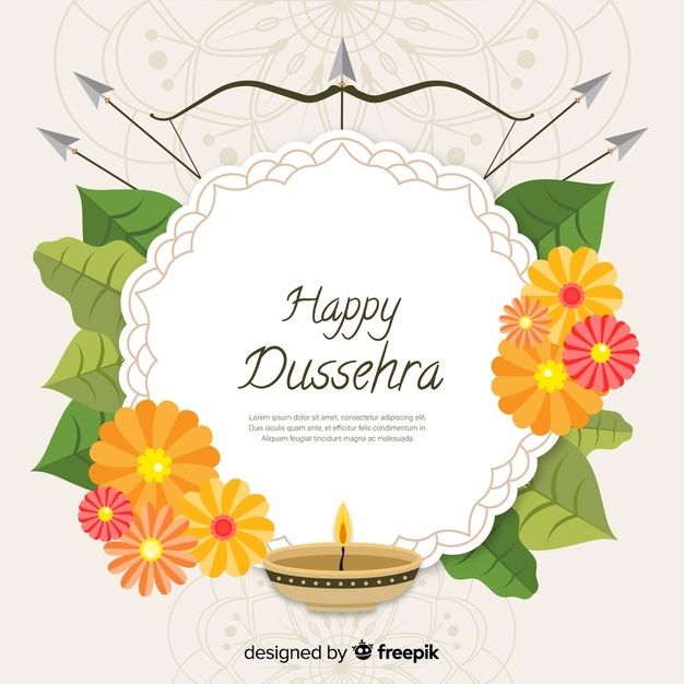 Happy Dussehra Background In Flat Style