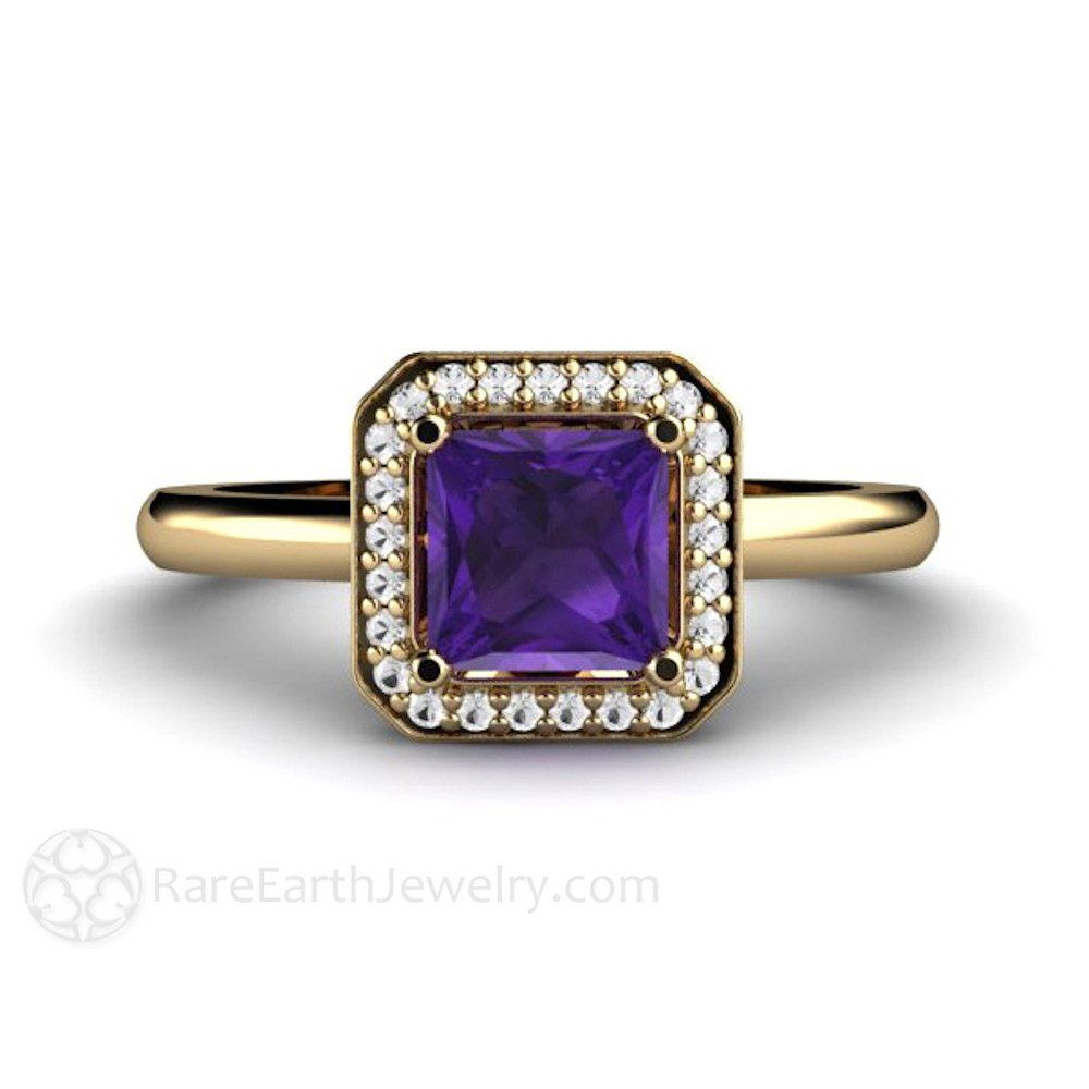 Rare Earth Jewelry Princess Cut Amethyst Engagement Ring