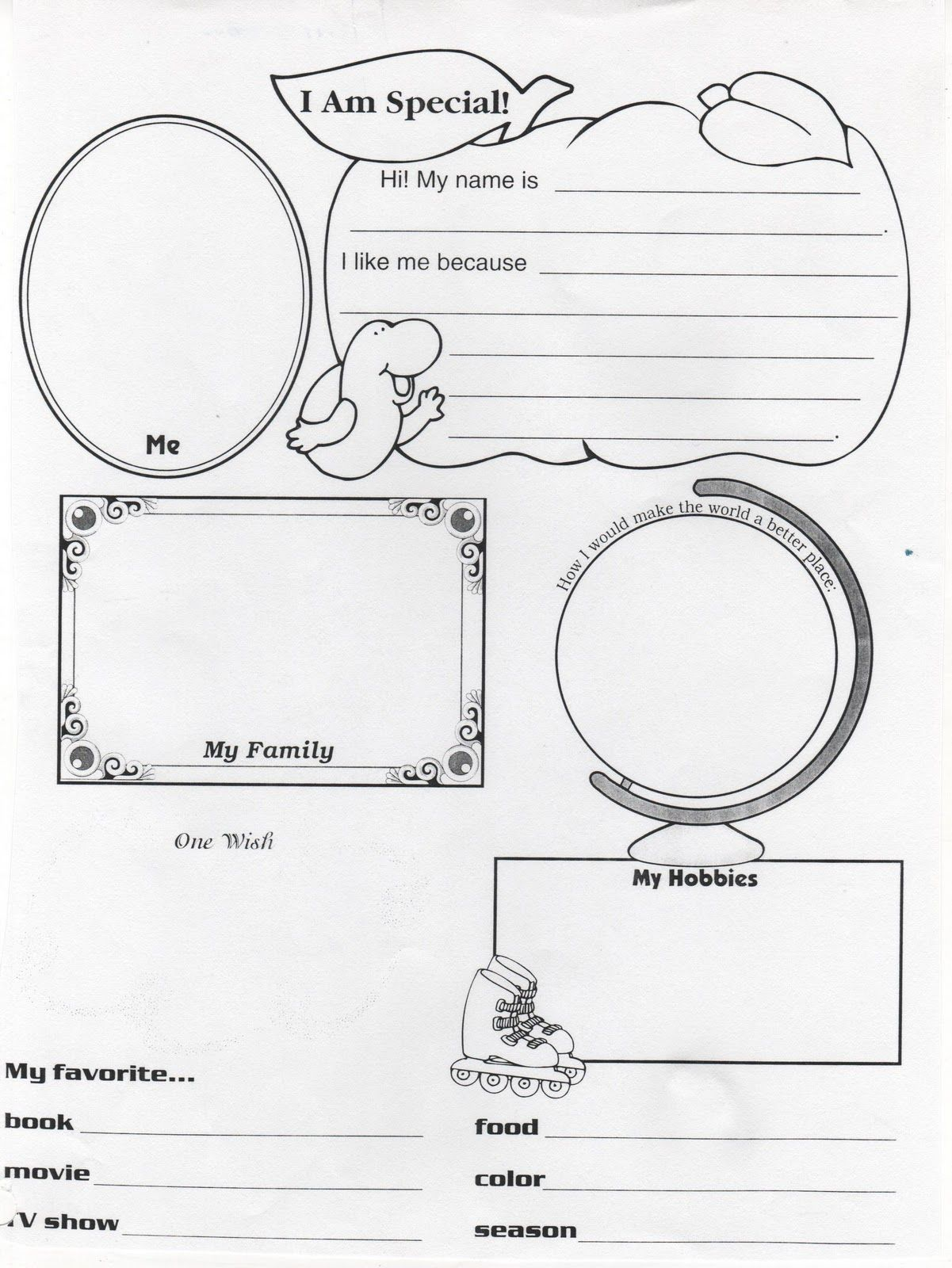 I AM Special Because Worksheet | Wednesday, August 18, 2010 ...
