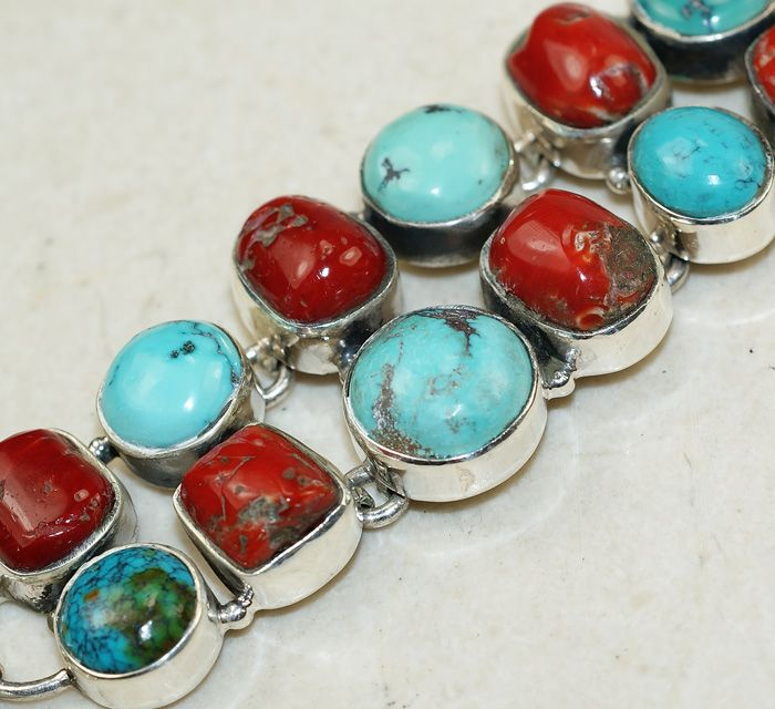 CoralTurquoise bracelet designed and created by Sizzling Silver. Please visit  www.sizzlingsilver.com. Product code: BR-9628