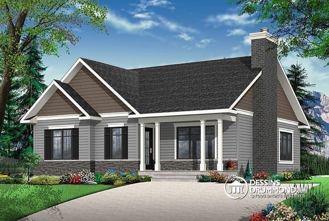 W3147-V2 - Plain-pied transitionnel avec 2 chambres, aire ouverte - liste materiaux construction maison