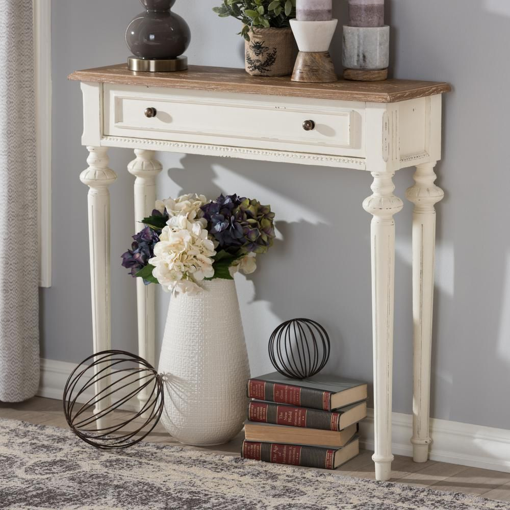 Baxton Studio Marquetterie French Provincial White Finished Wood