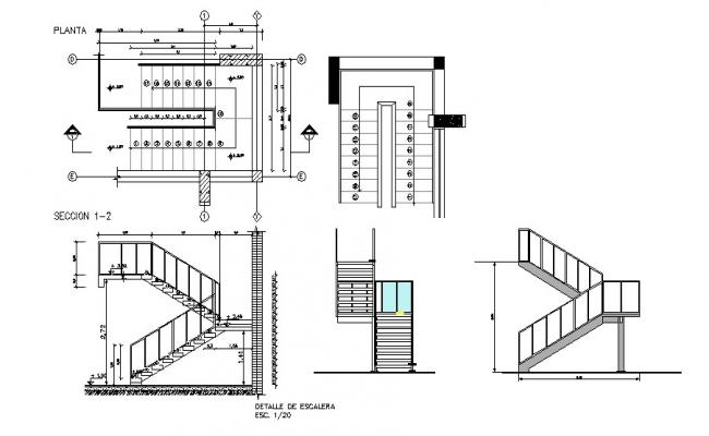 Drawing Of Stairs With Different Section In Autocad Stairway Design Stairs Architectural Section