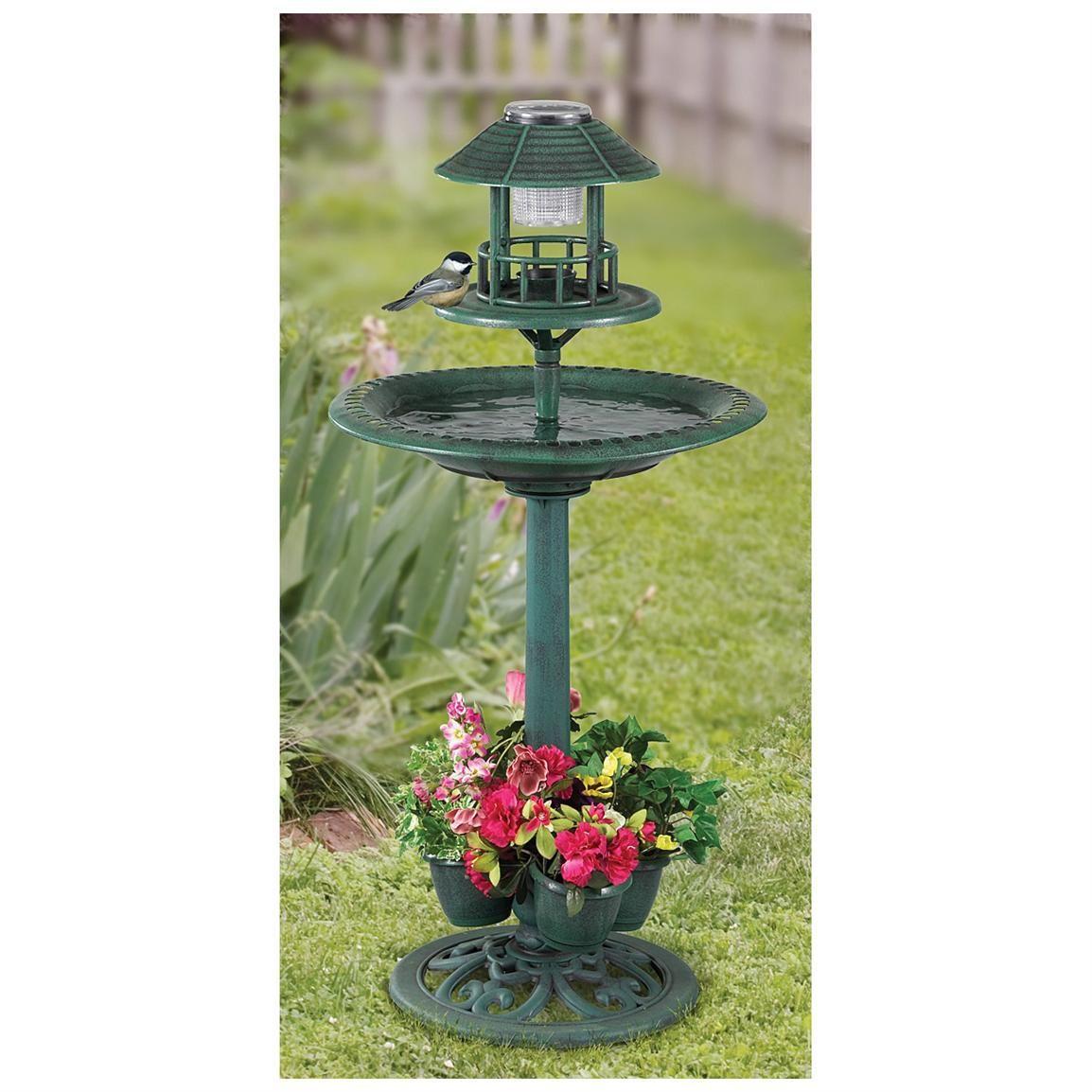 castlecreek 4 in 1 bird bath with feeder planter u0026 solar led