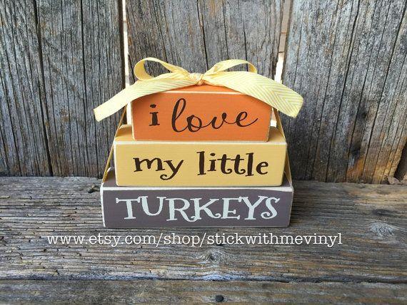 I love my little TURKEYS mini stacker wood block set THANKSGIVING - my halloween decorations