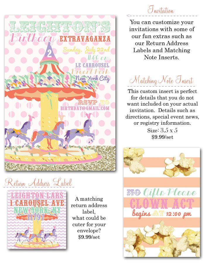 girl party invites, carousel invitations, carousel party invites ...