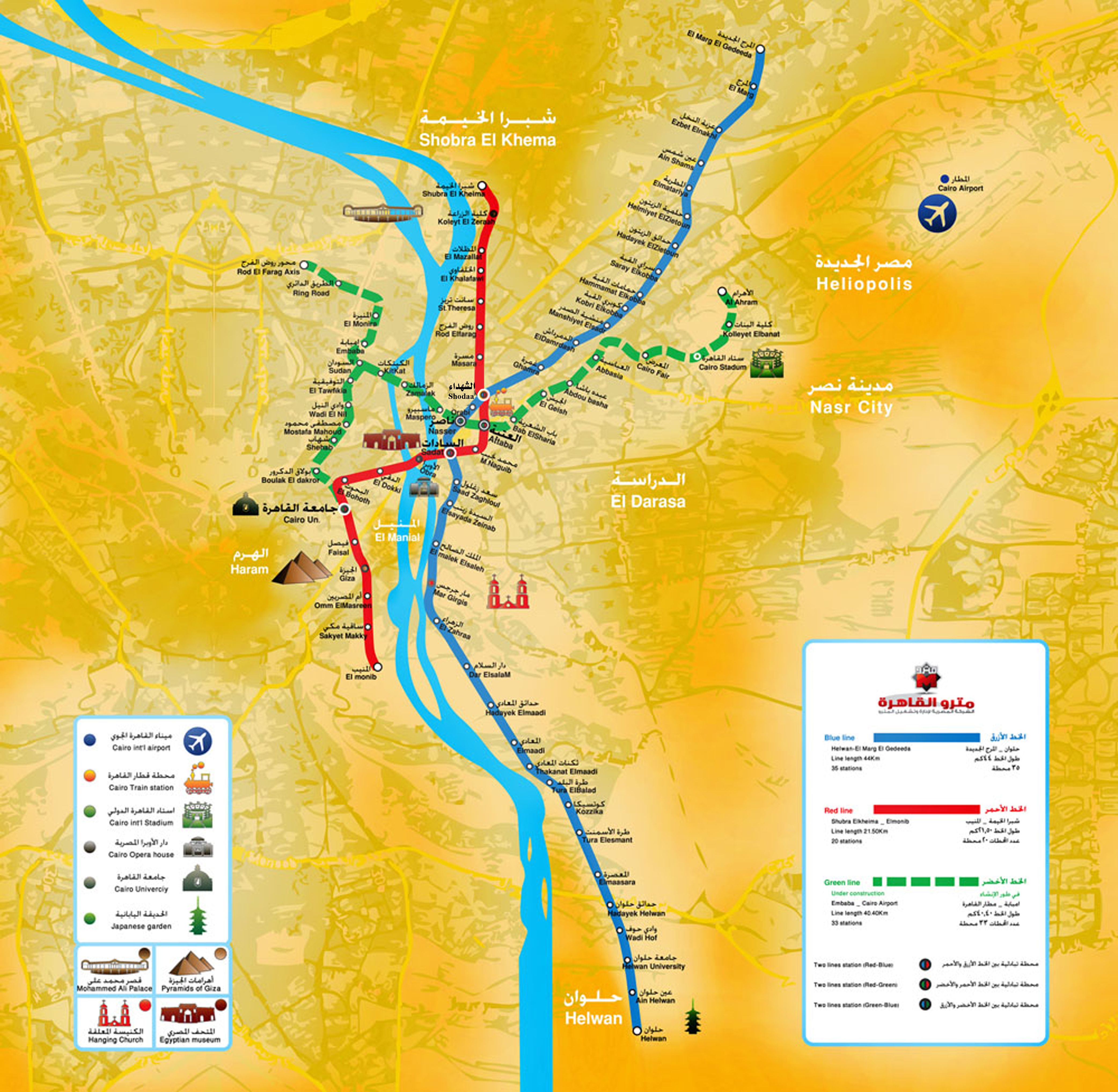Mapa Del Metro De Cairo Egipto Cairo Mapa Del Metro Red De Metro