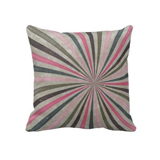 Groovy Retro Spiral Sunbeam Ray Swirl Throw Pillows