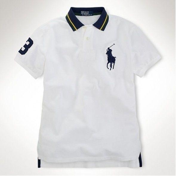 Ralph Lauren Men White Navy Big Pony 3 Polo   Mens polo t shirts ...
