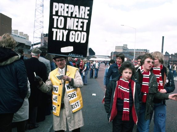 1970's Matchday at Manchester United by John Bulmer. I remember these placards, you don't see them at Premiership grounds !
