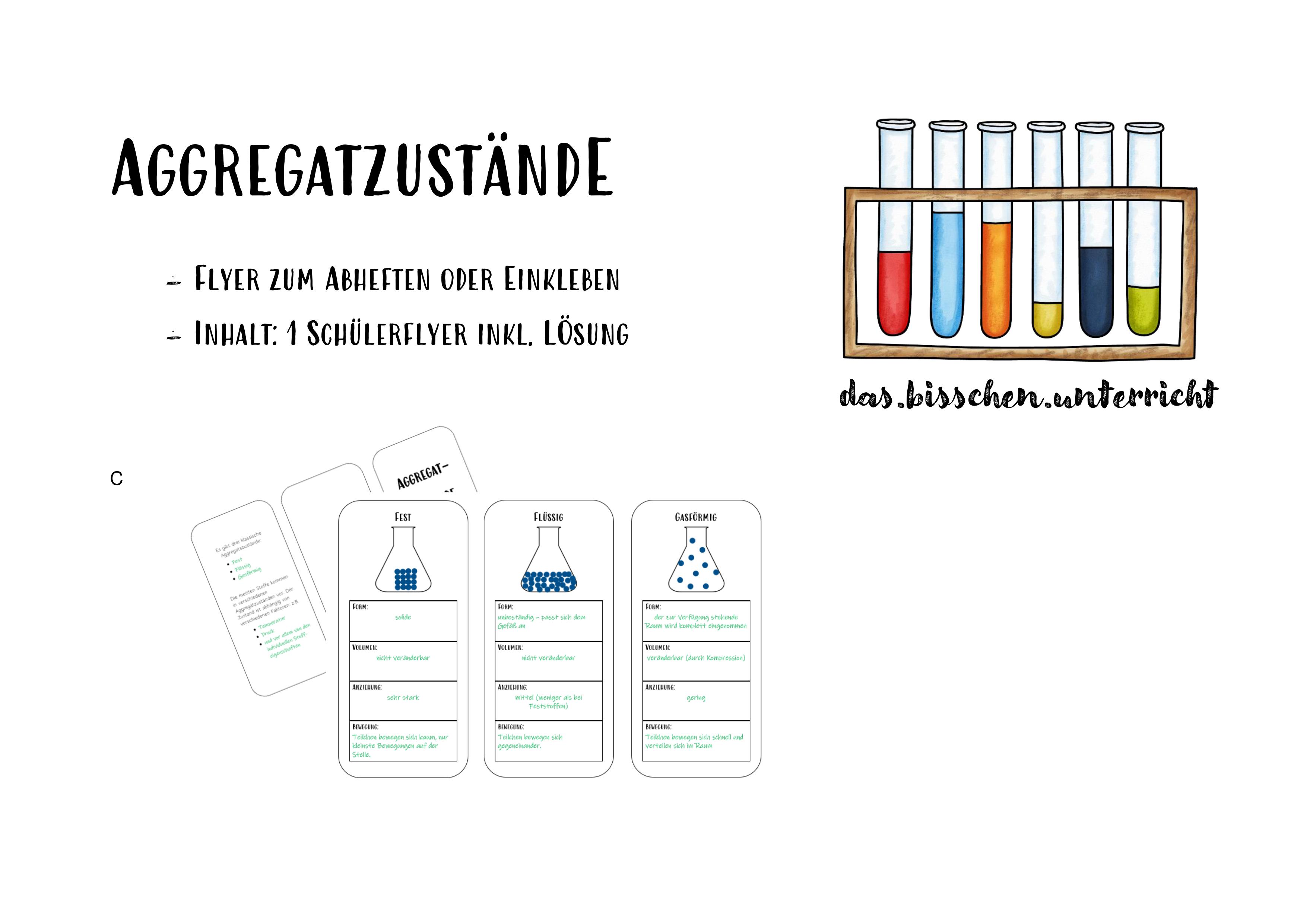 Aggregatzustände Flyer inkl. Lösungen – Unterrichtsmaterial im ...