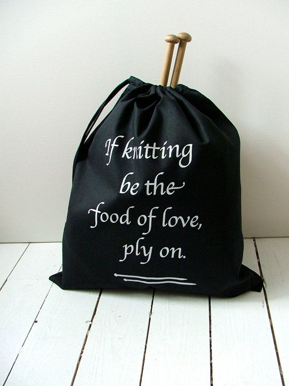Shakespearean Knitting pouch - black drawstring bag | Knit Stuff ...