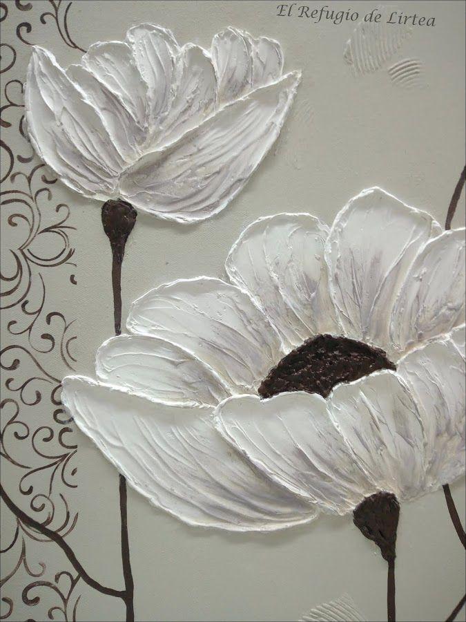 Cuadro Con Flores En Relieve Flores Pintadas Cuadro De Flores Pinturas Florales
