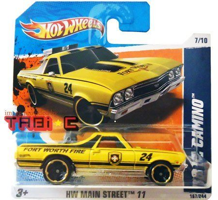 "2011 Hot Wheels '68 EL CAMINO (yellow Fort Worth Fire w/gold rims) #167/244, HW Main Street 11 #7/10 [SHORT CARD] by Mattel. $7.59. 1/64 scale die cast and plastic parts (about 3"" long). International short card version. 2011 Hot Wheels HW Main Street 11 series, #7 of 10. for ages 3+. yellow with black striping 1968 El Camino, #167 of 244. This '68 El Camino has a raised rear engine, yellow colored body with black striping detail. ""Fort Worth"", ""Fort Worth Fire"", ""24"" an..."