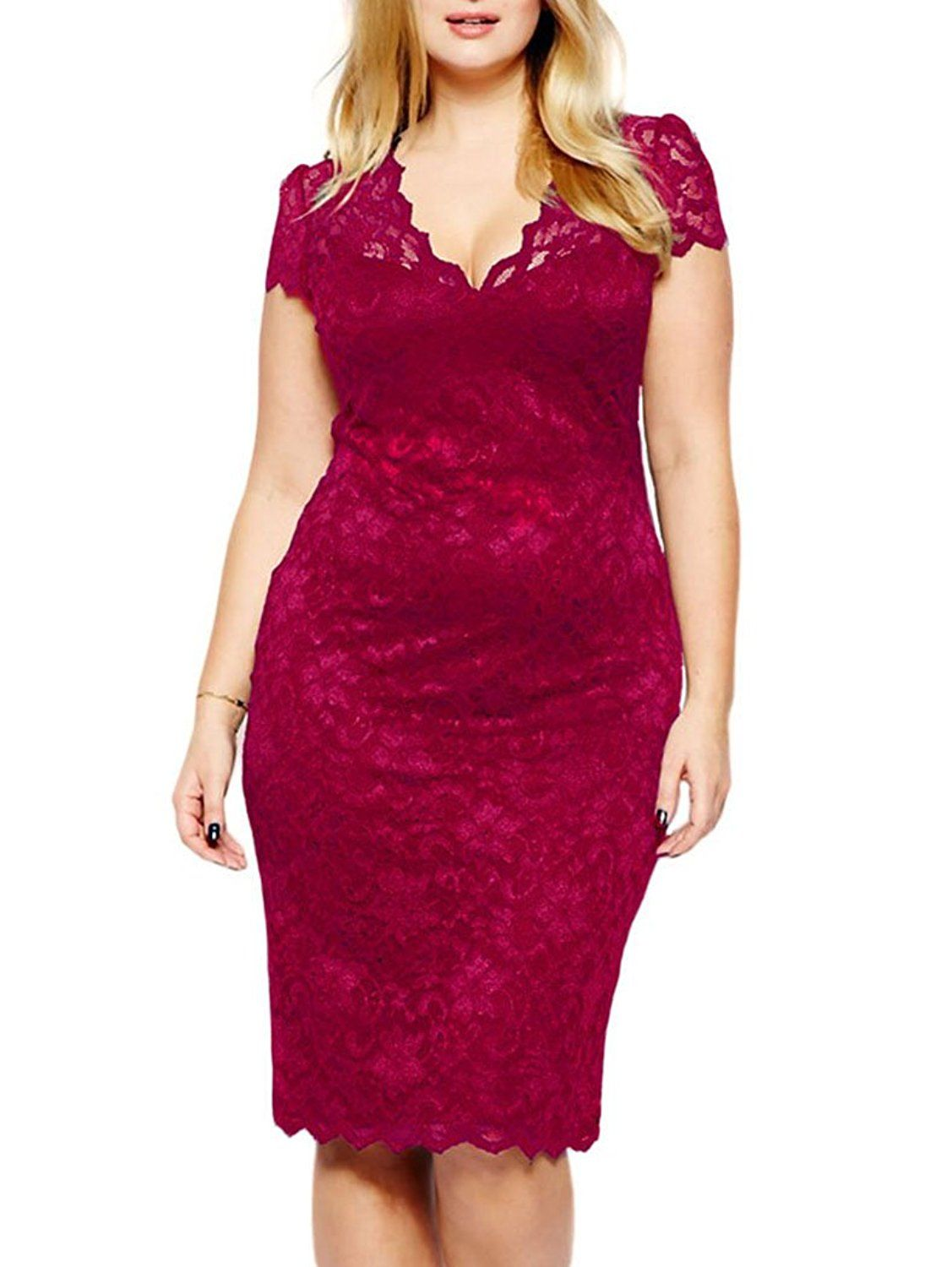 Red lace dress plus size  JandDesign Women VNeck Short Sleeve Party Club Bodycon Dress Plus